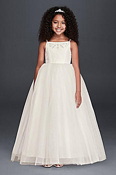 Spaghetti Strap Tulle Dress w/ Crystal Accents F5407