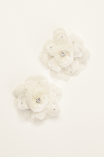 Organza Flower Clip with Crystal and Rhinestones F8095