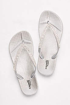 Capelli Grey Flip Flops (Molded Footbed Flip Flops with Bold Crystal Straps)