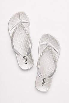 Grey Flip Flops (Flip Flops with Tiny Crystal Straps)