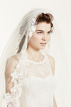 One Tier Cathedral Veil with Lace Embroidery FFSV524
