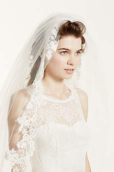 One Tier Cathedral Veil with Lace Embroidery