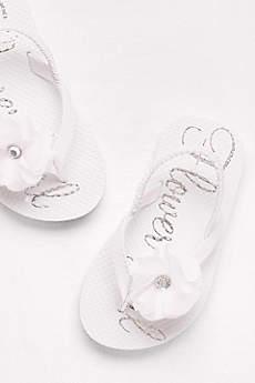 David's Bridal White Flowergirl Shoes (Flower Girl Flip Flops)