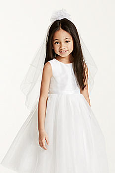 Flower Girl Curly Q Ribbon Veil FG9086WH
