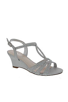 Blossom Grey (Strappy Crystal-Embellished Low-Heel Wedges)
