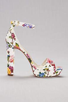 David's Bridal Multi Sandals (Floral Platform Heels)