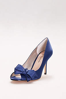 Touch of Nina Blue (Satin Peep-Toe Heels with Bow)