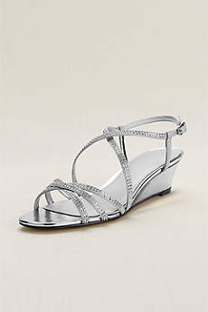 Touch of Nina Grey Sandals (Touch of Nina Strappy Beaded Wedge Sandal)
