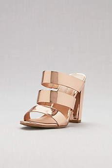 Bamboo Pink Sandals (Metallic Triple-Strap Chunky Heel Mule)