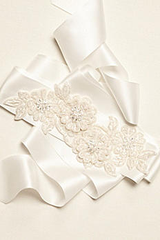 Beaded Lace Applique Sash G21597B