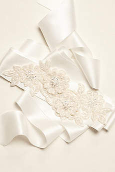 Beaded Lace Applique Sash