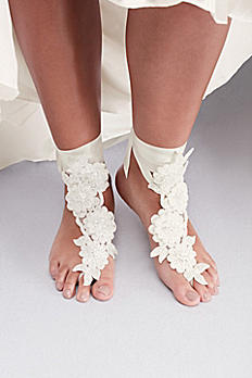 Allover Beaded Floral Fabric Foot Jewelry G22473