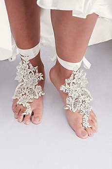 David's Bridal Ivory Jewelry Sets (Baguette-Beaded Floral Foot Jewelry)
