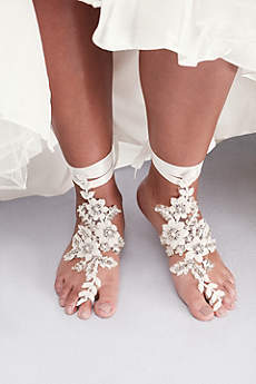 David's Bridal Ivory Jewelry Sets (Crochet Lace Foot Jewelry with Beading)