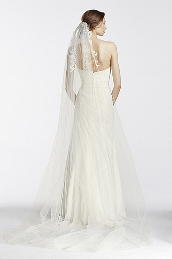 One Tier Floral Embroidered Veil GA002