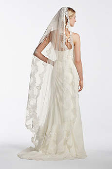 Single Tier Mid Length Scalloped Edge Veil