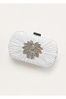 Jessica McClintock Pleated Minaudiere Handbag GARDENIA