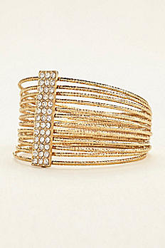 Multi Gold Bangle Bracelets with Pave Bar GEM43440BR