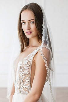 Crystal and Bead Tulle Veil with Comb