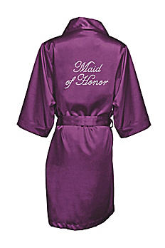 Eggplant Rhinestone Maid of Honor Satin Robe GIFTDBMOHRB