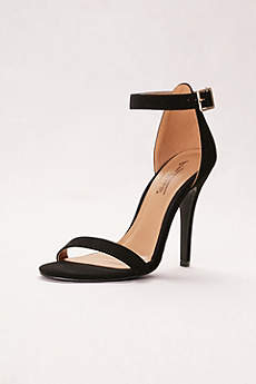 Anne Michelle Black Peep Toe Shoes (Simple Ankle Strap Sandals)