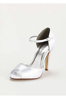 David's Bridal White Pumps (Dyeable Sandal with Crystal Embellished Heel)