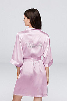 Personalized Glitter Print Name Satin Robe GLTRB-NAME