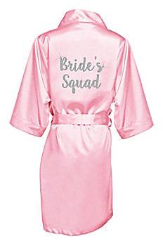 Glitter Print Bride's Squad Satin Robe GLTRBBRSQD