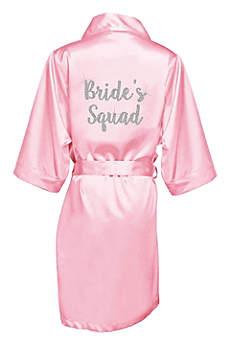 Glitter Print Bride's Squad Satin Robe
