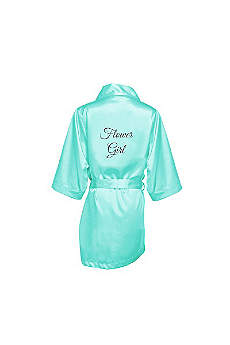 Glitter Print Flower Girl Satin Robe