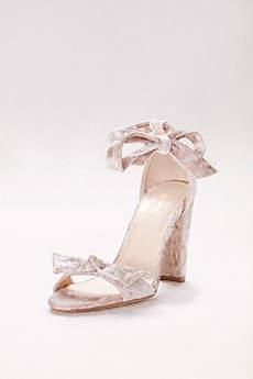 Qupid Ivory Sandals (Crushed Velvet Ankle-Tie Heels)