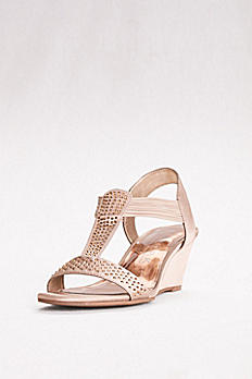 Satin T-Strap Wedges with Crystals GREATRIGHT