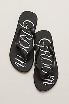 David's Bridal Black Flip Flops (Groom Flip Flops)