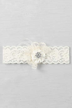Ruffle and Rhinestone Cluster Lace Vintage Garter