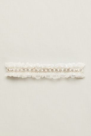 Ginger Pearl Garter With Ruffled Organza David S Bridal