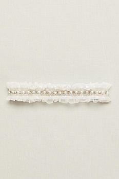 Ginger Pearl Garter with Ruffled Organza GTRGINGER