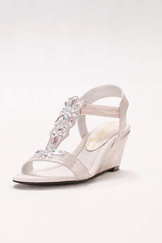 New York Transit Ivory Wedge Shoes (Embossed T-Strap Wedges with Iridescent Gems)