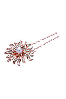 Pearl and Crystal Sunburst Hair Pin