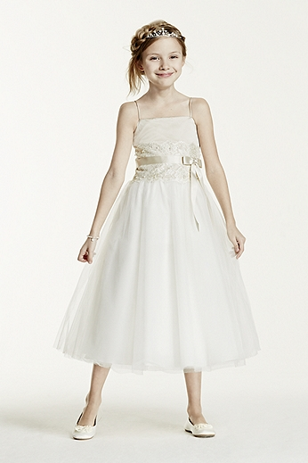 Flower Girl Lace and Tulle Spaghetti Strap Dress H1173