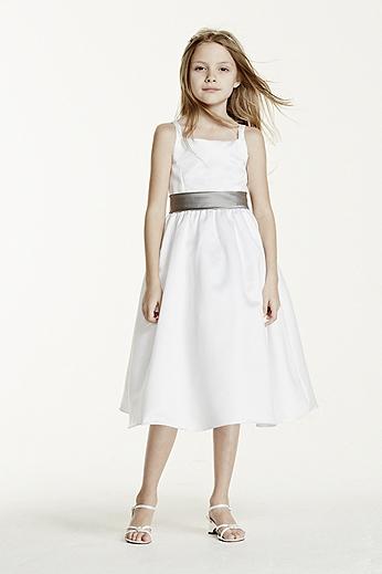 All-over Satin Tea-Length Ball Gown H1227