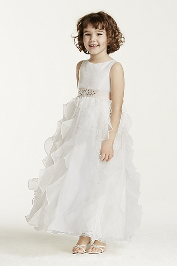 Organza Flower Girl Dress with Ruffled Skirt H1281