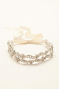 Crystal Embroidered Two Row Headband H18429