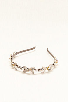 Silver Leaf Headband with Crystal Accents H21658