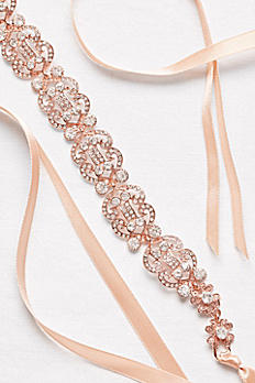 Filigree Crystal Double-Ribbon Sash H23772X