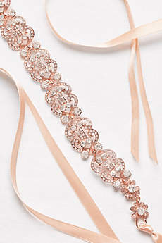 Filigree Crystal Double-Ribbon Sash