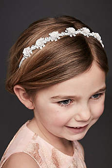 Glitter and Rhinestone Rosette Flower Girl Headban