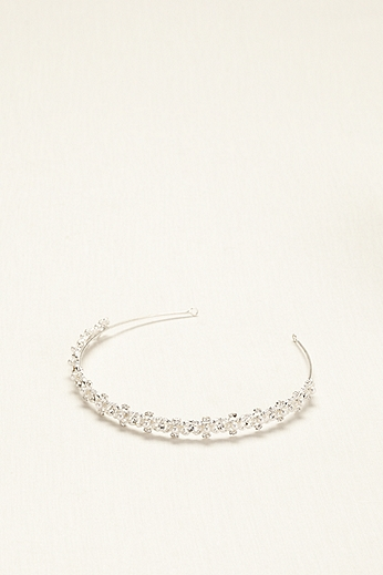Thin Headband with Crystals and Pearls H7966