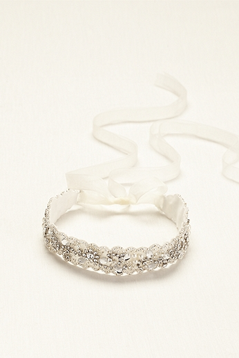 Crystal and Beaded Headband with Ribbon Tie H9044