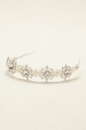 Crystal Medallion Headband with Pearl Accents H9093