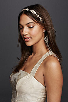 Etched Leaves and Rhinestone Tieback Headband H9107